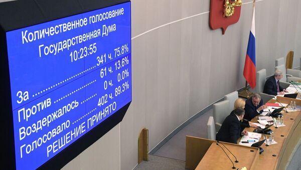 Информационное табло о количественном голосовании на пленарном заседании Государственной Думы РФ
