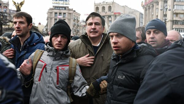 Михаил Саакашвили со своими сторонниками в Киеве. Архивное фото