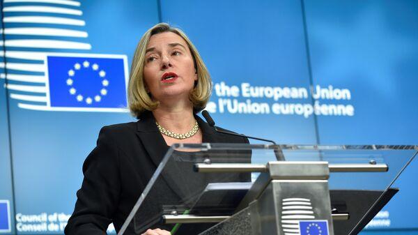 Глава дипломатии ЕС Федерика Могерини на пресс-конференции в Брюсселе. 11 декабря 2017