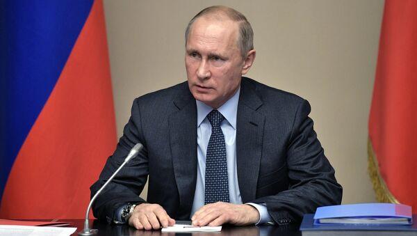 Президент РФ Владимир Путин проводит совещание с постоянными членами Совета безопасности РФ. 15 декабря 2017