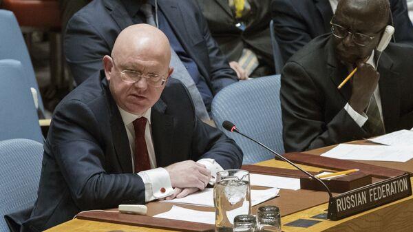 Постоянный представитель России при ООН Василий Небензя на заседании Совета безопасности. Архивное фото