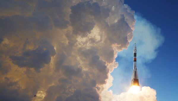 Пуск ракеты-носителя Союз-ФГ с транспортным пилотируемым кораблем Союз МС-07 с космодрома Байконур. 17 декабря 2017
