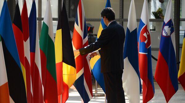 Флаги стран-участниц Европейского союза в Брюсселе