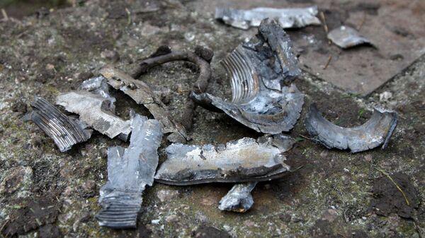Осколки снаряда, найденные в результате обстрела города Ясиноватая. 21 декабря 2017