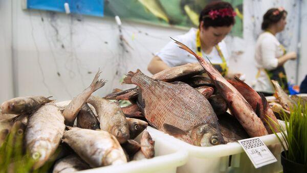 Торговля рыбой на выставке-ярмарке
