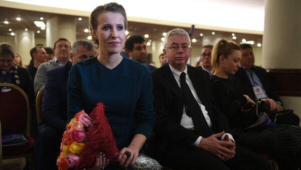 Телеведущая Ксения Собчак на съезде партии Гражданская инициатива в Москве. 23 декабря 2017