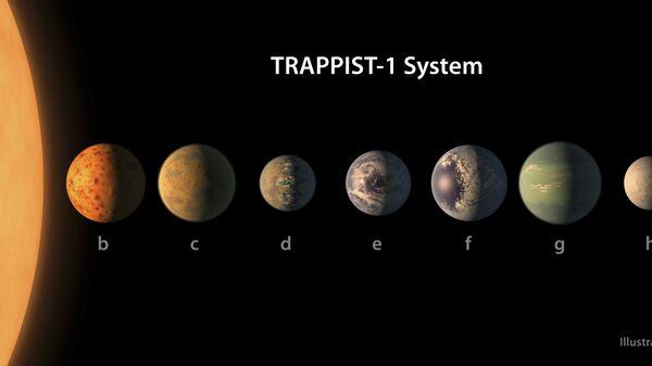 Представление художника о том, как выглядит планетная система TRAPPIST-1