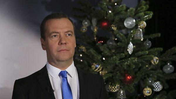 Дмитрий Медведев во время поздравления россиян с Новым годом