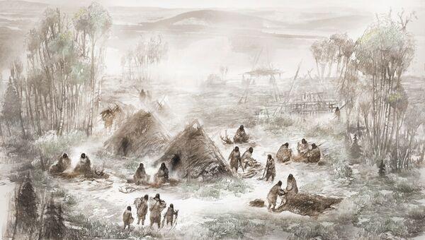 Иллюстрация изображающая лагерь древних людей в верховье реки Санривер в центральной части Аляски, где в 2013 году были обнаружены 11 500-летние останки 6-недельной девочки