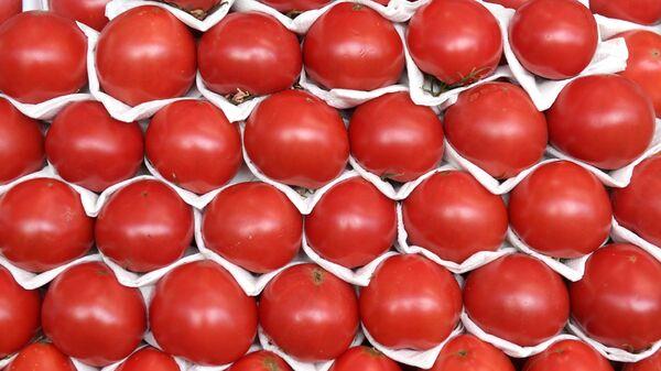Прилавок с помидорами на Дорогомиловском рынке в Москве