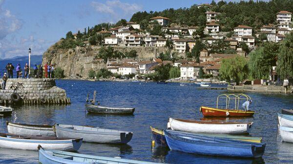 Вид на город Охрид в Македонии