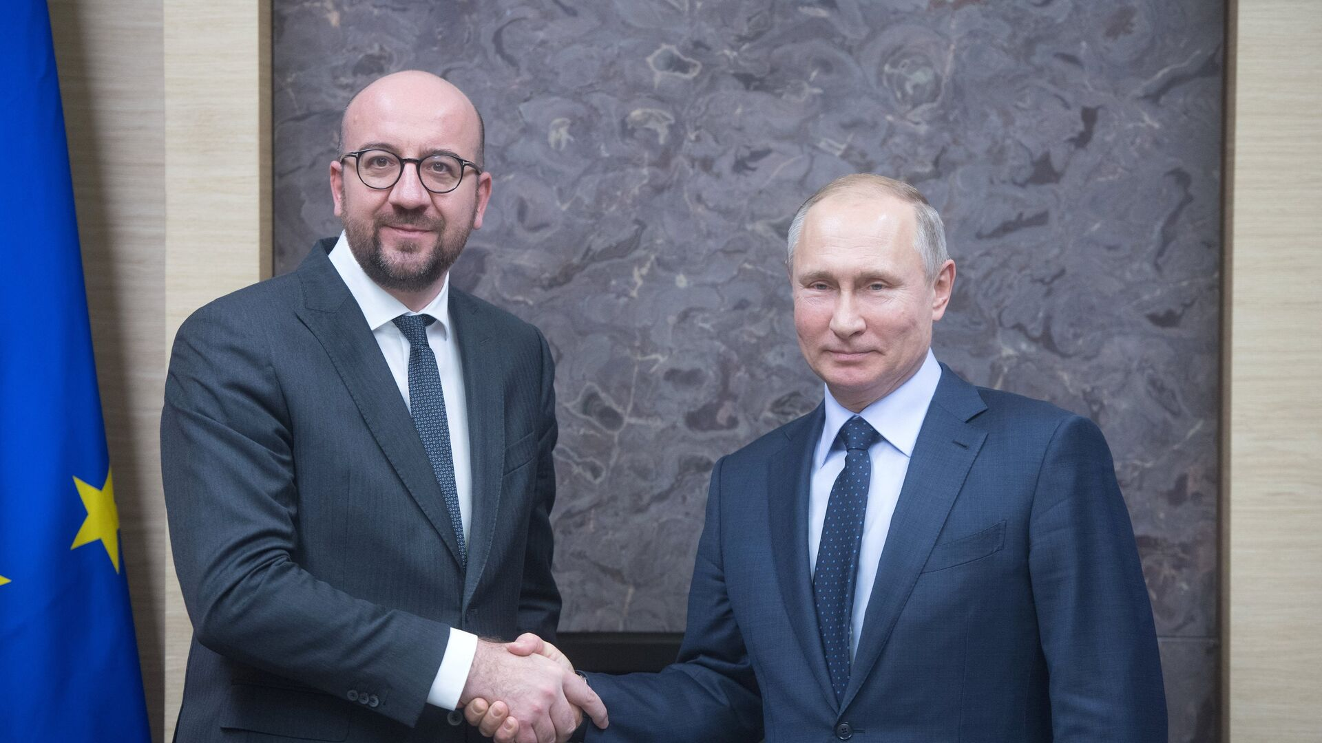 Президент РФ Владимир Путин и премьер-министр Бельгии Шарль Мишель во время встречи. 31 января 2018 - РИА Новости, 1920, 08.09.2021