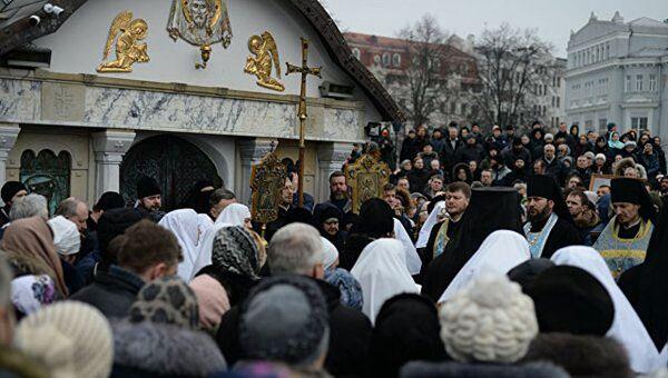 Ситуация у Десятинного монастыря в Киеве, Украина. 3 февраля 2018