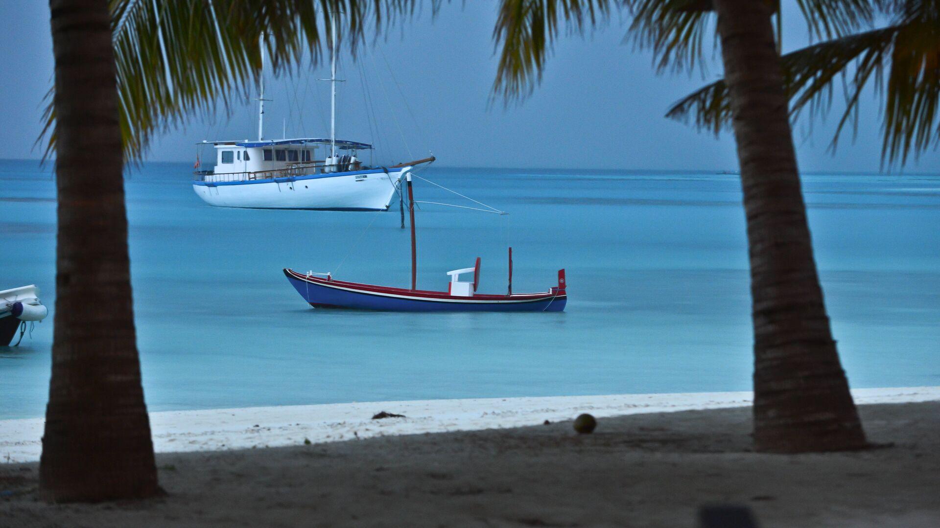 Лодки в лагуне Индийского океана рядом с отелем Meeru Island Resort & Spa на Мальдивах - РИА Новости, 1920, 10.09.2020