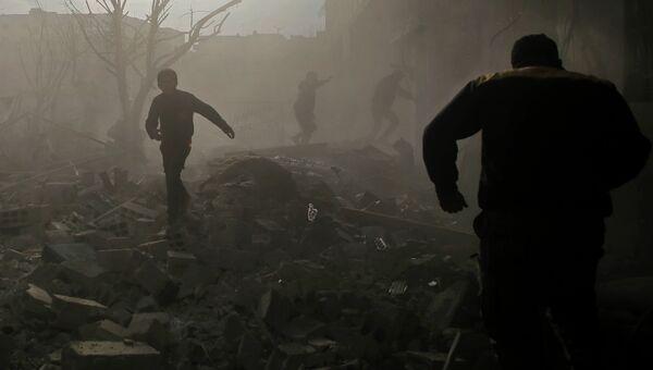 После авиационного налета в Дамаске, Сирия