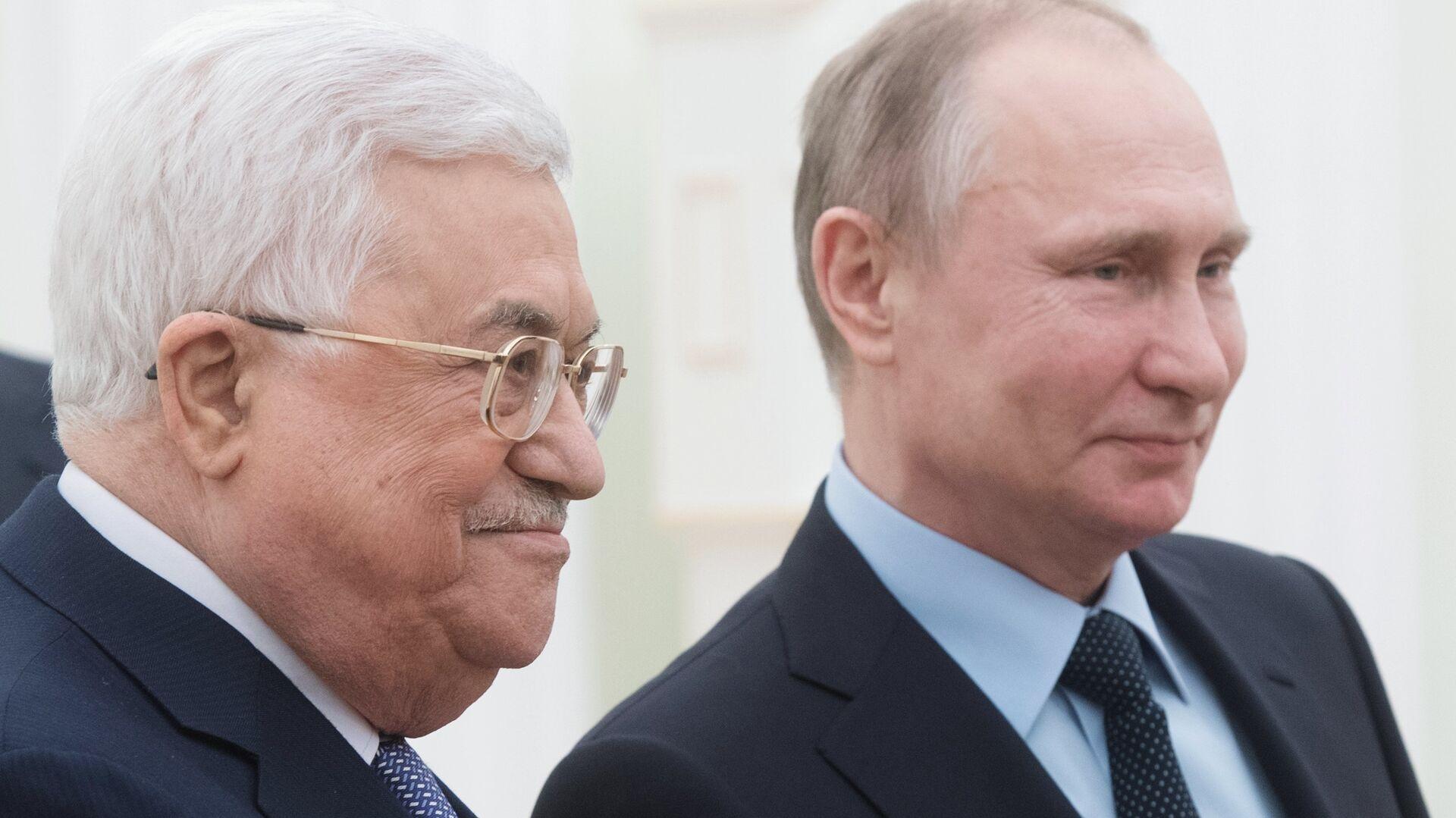 Президент РФ Владимир Путин и президент Палестины Махмуд Аббас во время встречи. 12 февраля 2018 - РИА Новости, 1920, 22.12.2020