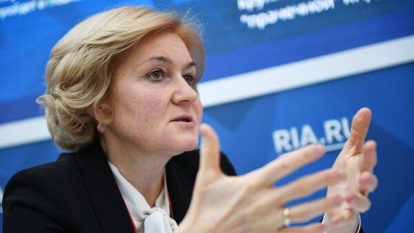 Заместитель председателя правительства РФ Ольга Голодец во время интервью сайту RIA.ru на Российском инвестиционном форуме в Сочи. 15 февраля 2018