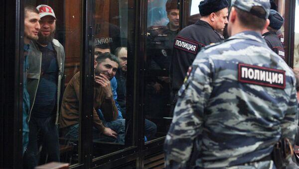 Обвиняемые по делу о беспорядках на Хованском кладбище  в Мосгорсуде. 21 февраля 2018