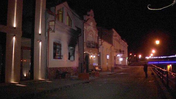 Последствия поджога здания офиса Общества венгерской культуры в Ужгороде