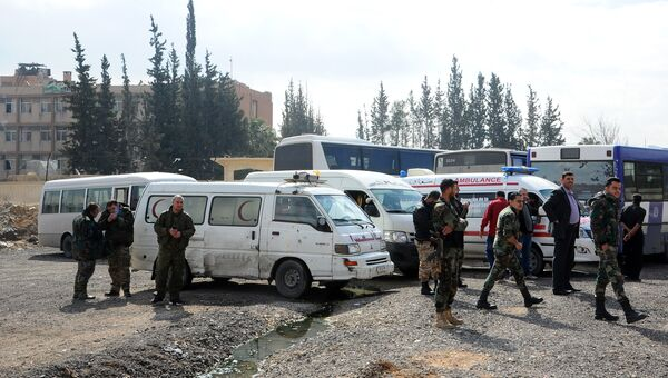 Район гуманитарного коридора в восточном пригороде Дамаска
