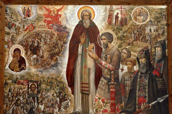 Икона Святые Сергий Радонежский и Дмитрий Донской. Архивное фото