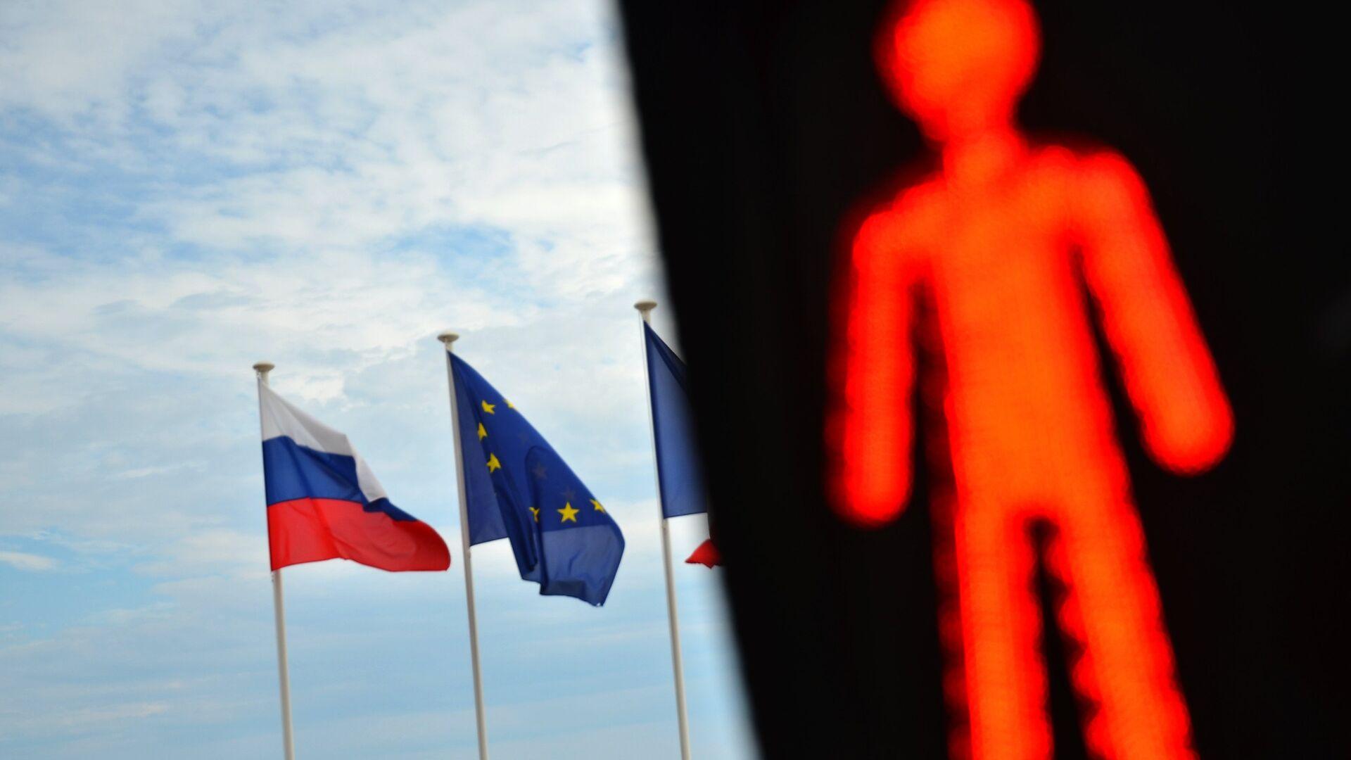 Флаги России и ЕС - РИА Новости, 1920, 03.02.2021