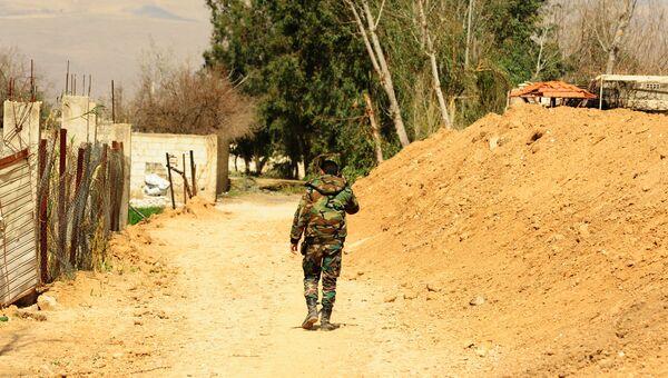 Военнослужащий сирийской армии в одном из освобожденных районов Восточной Гуты. 11 марта 2018