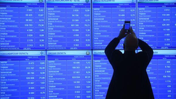 Предварительные результаты голосования на выборах президента РФ на экране в информационном центре Центральной избирательной комиссии РФ. 19 марта 2018