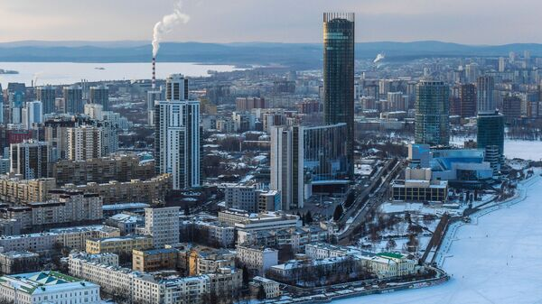 Вид на территорию комплекса Екатеринбург-Сити в Екатеринбурге