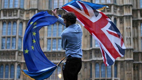 Участник протеста против Brexit возле здания парламента в Лондоне