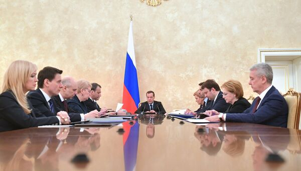 Дмитрий Медведев проводит заседание президиума Совета при президенте РФ по стратегическому развитию и приоритетным проектам в Доме правительства РФ. 29 марта 2018