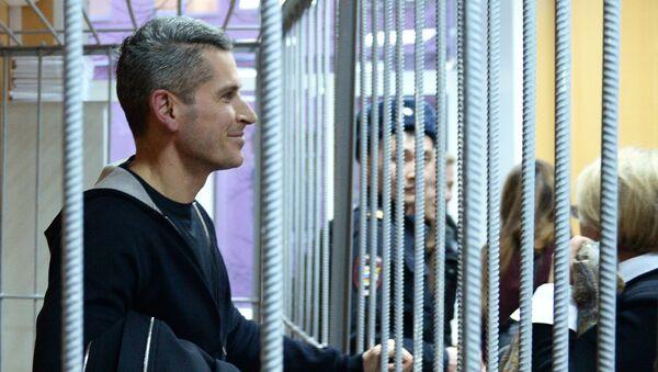 Совладелец и председатель совета директоров группы Сумма Зиявудин Магомедов во время рассмотрения ходатайства следствия о его аресте в Тверском районном суде Москвы. Архивное фото