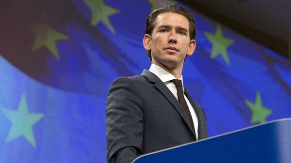 Федеральный канцлер Австрии Себастьян Курц во время совместной пресс-конференции в Брюсселе