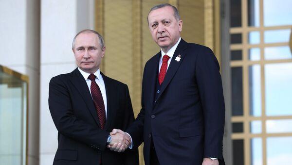 Президенты России и Турции Владимир Путин и Реджеп Тайип Эрдоган. Архивное фото