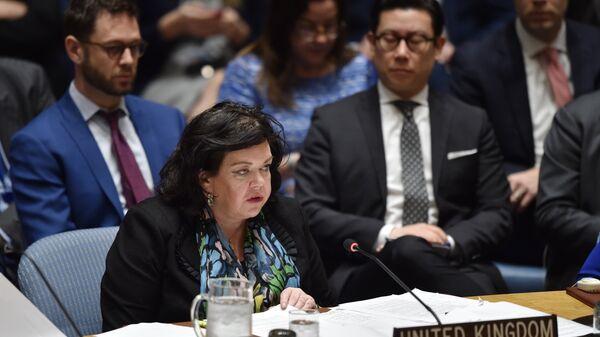 Постпред Великобритании при ООН Карен Пирс на заседании Совета Безопасности ООН. Архивное фото