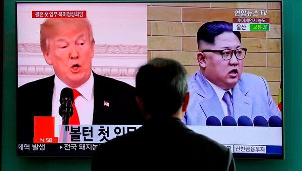 Портреты Дональда Трампа и Ким Чен Ына. Архивное фото