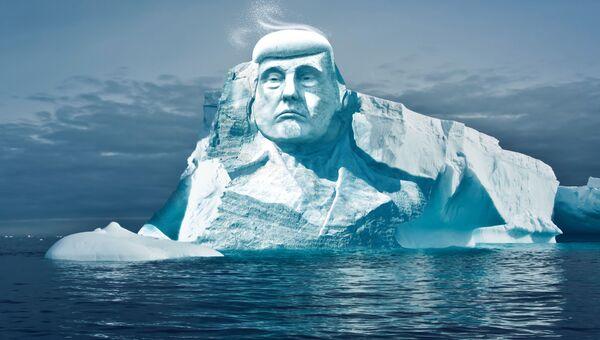 Экологи хотят вырубить изо льда в Арктике 35-метровую голову Трампа. Архивное фото