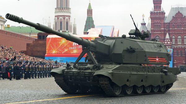 Самоходная артиллерийская установка Коалиция-СВ на генеральной репетиции военного парада на Красной площади