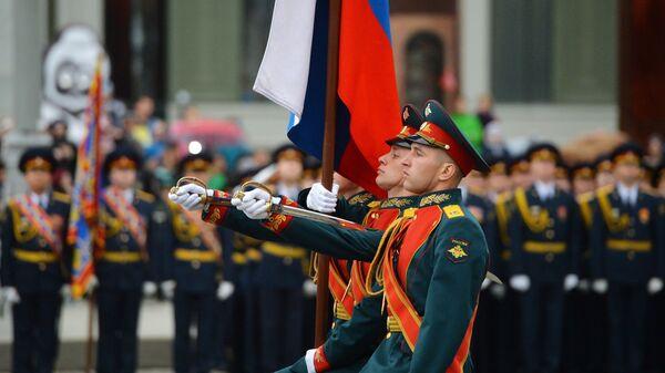 Знаменная группа на военном параде в Екатеринбурге, посвященном 73-й годовщине Победы в Великой Отечественной войн Дня Победы. 9 мая 2018