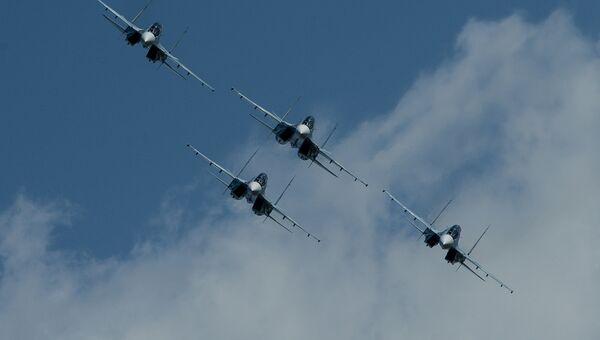 Истребители Су-30СМ пилотажной группы Соколы России. Архивное фото