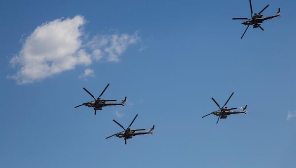 Вертолеты пилотажной группы Беркуты. Архивное фото