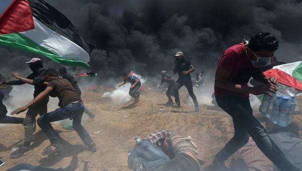 Столкновения палестинцев с израильскими войсками в Газе. 14 мая 2018