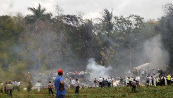 Кадры с места крушения Boeing 737-200 в Гаване