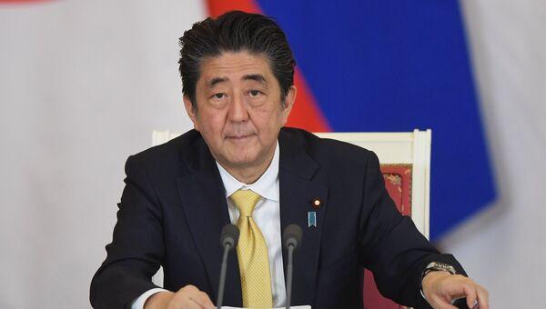 Премьер-министр Японии Синдзо Абэ на пресс-конференции по результатам российско-японских переговоров. 26 мая 2018
