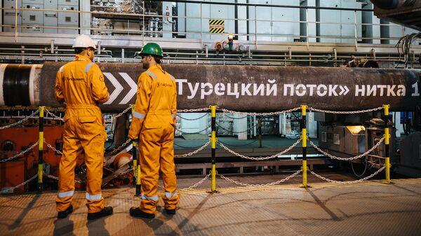 Символьный сварной шов, который знаменует окончание кампании по укладке морских трубопроводов первой нитки Турецкого потока. Май, 2018