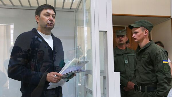 Кирилл Вышинский во время рассмотрения апелляции на арест в Херсонском суде. 1 июня 2018