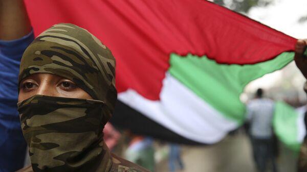 Боец в маске под флагом Палестины. Архивное фото