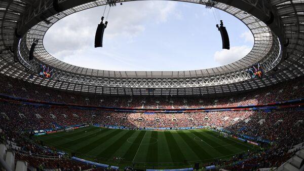 Болельщики на трибунах стадиона Лужники перед началом матча группового этапа чемпионата мира по футболу между сборными России и Саудовской Аравии