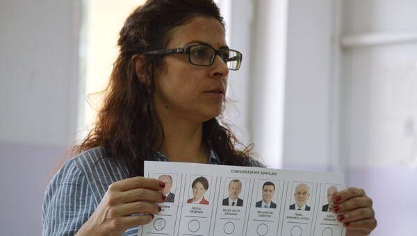 Подсчет голосов на избирательном участке в Анкаре. 24 июня 2018