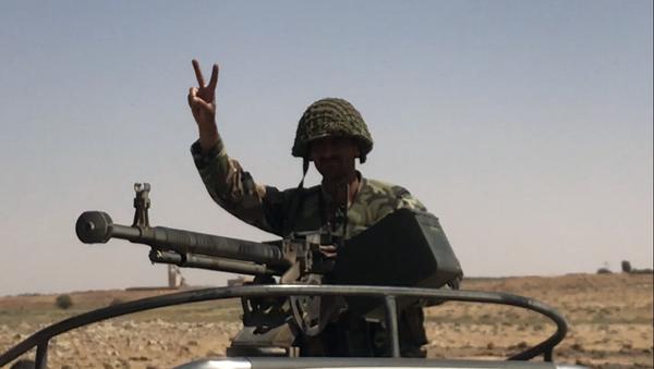 Сирийская армия на границе с Иорданией в провинции Дераа . 5 июля 2018